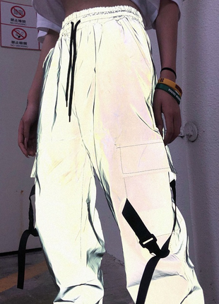 Рефлективные джоггеры, светоотражающие штаны, джинсы, женские, 3м