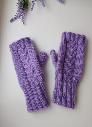 Митенки пушистые ангора перчатки для сенсорных экранов теплые