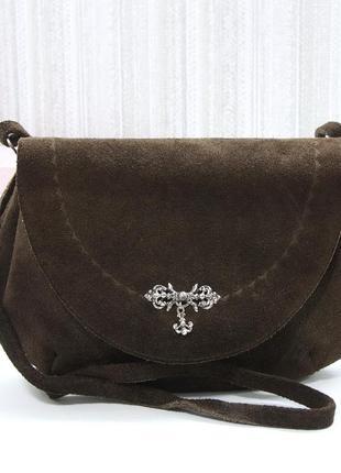Изящная сумка, натуральная замша