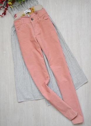 Пудровые вельветовые зауженные брюки штаны esprit