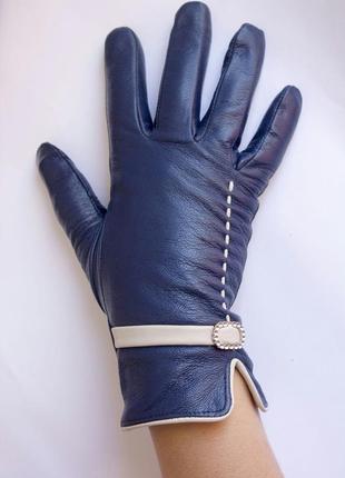 Перчатки натуральная кожа , синие.