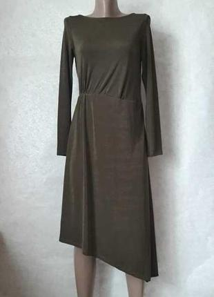 """Фирменное mango шикарное платье-миди """"ассиметрия"""", цвета хаки,..."""