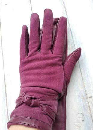 Женские комбинированные перчатки кожа+замш зима