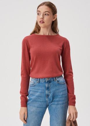 Новая длинная темно-коралловая кофта темно-красный свитер поль...