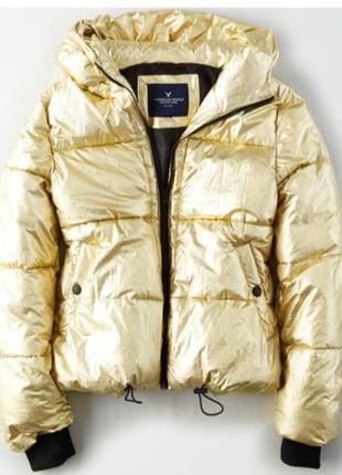 Золотая теплая курточка american eagle metallic boxer puffer j...