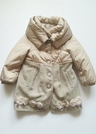 Bulicca Деми пальто на девочку 5-6 лет ручная работа цветы