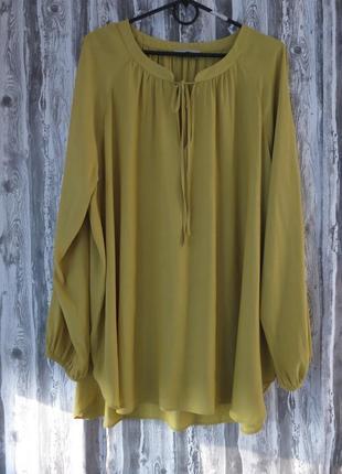 Шикарная блуза с длинным рукавом батал  большой размер 22 размер