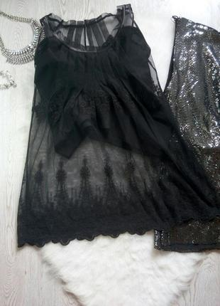 Черная ажурная блуза майка гипюр с вышивкой кружевом снизу тун...