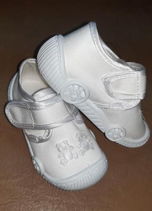 Белые текстильные туфли на мальчика 20-23 viggami