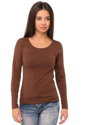 Лонгслив женский футболка однотонная с длинным рукавом трикота...
