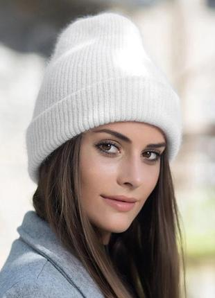 Женская теплая ангоровая шапка с отворотом белого / молочного ...