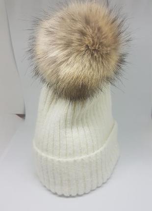 Женская зимняя / осенняя шапка со съемным помпоном  белая / мо...