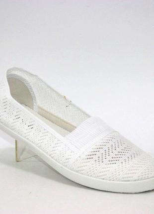 Белые женские ажурные слипоны cb1711-9