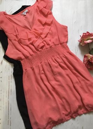 Коралловое платье с рюшами(3xl)