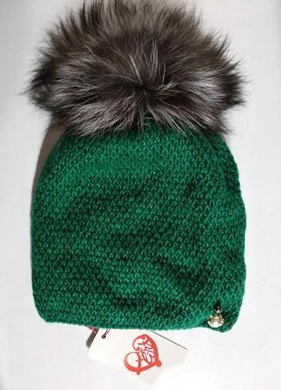 Женская мохеровая зеленая шапка на флисе с натуральным меховым...