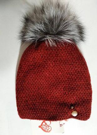Женская мохеровая бордовая шапка на флисе с натуральным меховы...