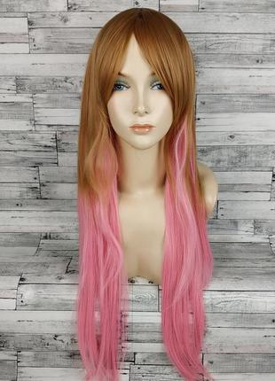 Парик прямой русый с розовым двухцветный 3792