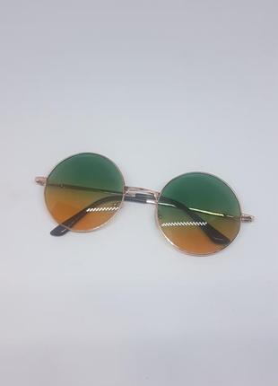 Солнцезащитные / имиджевые очки круглые цветные зелено-желтые