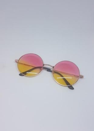 Солнцезащитные / имиджевые очки круглые цветные розово-желтые