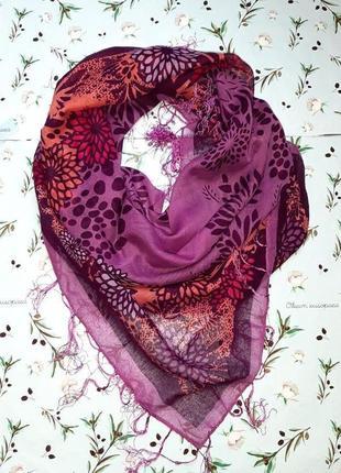 🎁1+1=3 стильный легкий фиолетовый платок с цветочным принтом