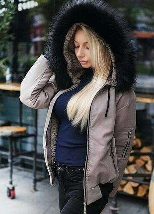 Куртка парка меховая  на меху с капюшоном бомбер разные цвета