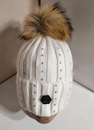 Женская белая шерстяная шапка со стразами с натуральным меховы...