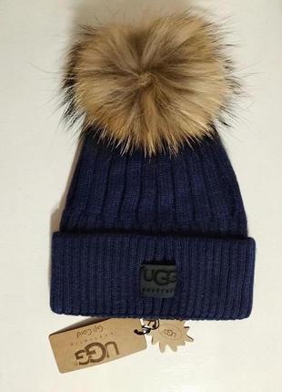 Женская синяя шерстяная шапка с натуральным меховым помпоном
