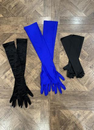 Длинные велюровые, атласные перчатки, митенки