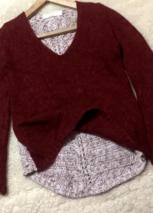 Очень красивый свитшот свитер цвета марсала с ажурной спинкой
