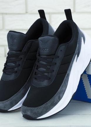 Кроссовки adidas sharks boost black grey white (арт. 11783)