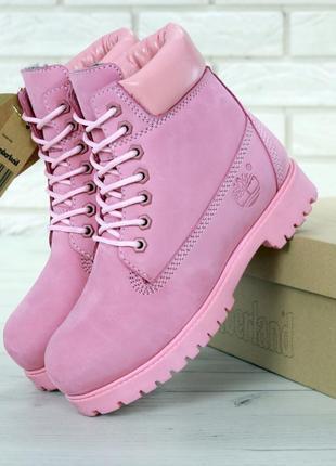 Женские ботинки timberland pink натуральный мех (арт. 11686)