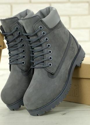 👢❄ женские ботинки timberland grey натуральный мех (арт. 11685...