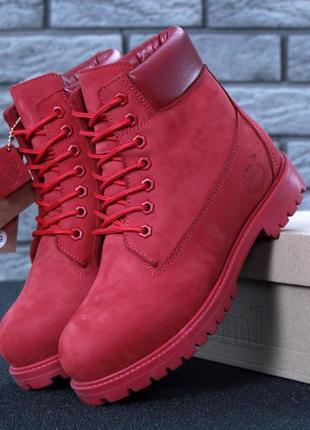 Женские ботинки timberland red натуральный мех