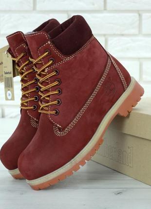 Женские ботинки timberland burgundy radford натуральный мех