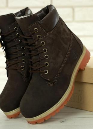 Женские ботинки timberland brown radford шерстяной мех
