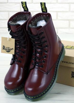👢 женские зимние ботинки dr. martens 1460 smooth иск. мех (арт...