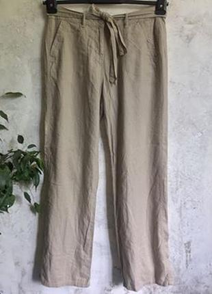 Натуральные брюки, лён, вискоза, свободные прямые брюки