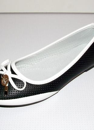 Туфли балетки слиперы для девочек черные с белым 30 - 36