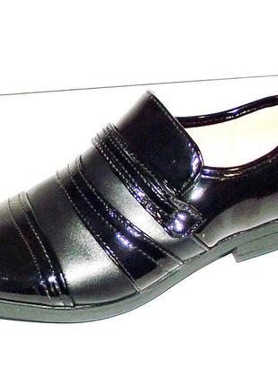 Туфли для мальчиков черные с лаковыми вставками том 31, 37