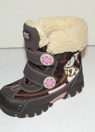 Термоботинки дутики зимние для девочек super gear баклажан вен...