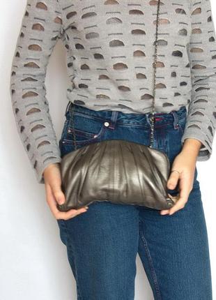 Стильная эффектная сумка-клатч oasis, натуральная кожа