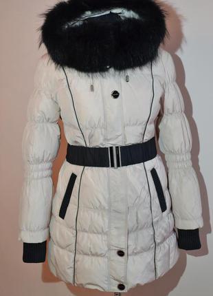Теплый зимний пуховик пальто shenowa с мехом енота по супер це...