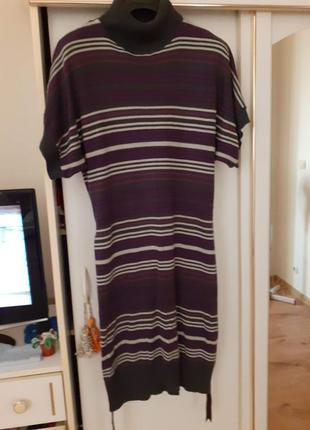 Теплое платье под горло с пояском