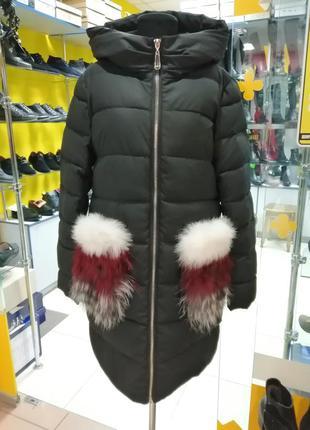 Модная зимняя куртка с мехом на карманах, последний размер xl