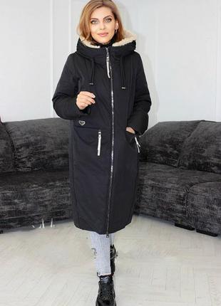 Хит сезона зима 2021, модная зимняя куртка парка, пальто пухов...
