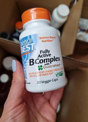 Doctor's Best, комплекс активных витаминов B с Quatrefolic, 30 ка
