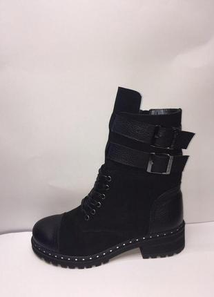 Зимние женские черные ботинки, кожа и нубук