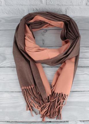 Двусторонний кашемировый шарф, палантин cashmere 7280-13 темна...
