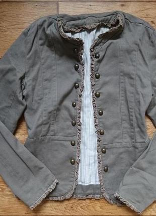 Джинсовый пиджак_джинсовая куртка_жакет_цвет хаки