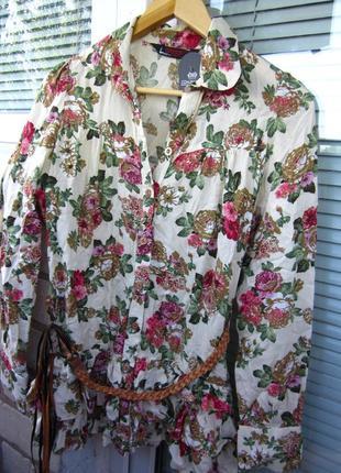 Штапельная длинная рубашка в цветочный принт размер s-m блуза ...